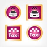Conjunto de varios iconos del taxi Fotografía de archivo