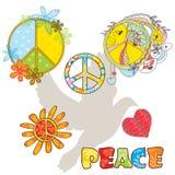 Conjunto de varios símbolos de paz Foto de archivo libre de regalías