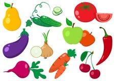 Conjunto de vehículos y de frutas Vector ilustración del vector