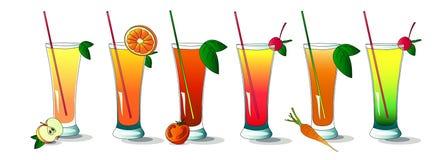 Conjunto de verano y de bebidas sanas Foto de archivo libre de regalías