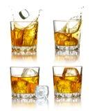 Conjunto de vidrios del whisky escocés aislados Imagenes de archivo