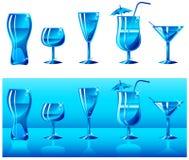 Conjunto de vidrios en azul Fotografía de archivo libre de regalías