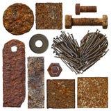 Conjunto de viejos objetos oxidados Foto de archivo libre de regalías