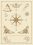 Conjunto de viejos símbolos náuticos Fotos de archivo