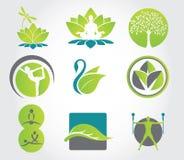 Conjunto de yoga y de aptitud, iconos coloridos Ilustración del vector Imagen de archivo