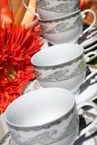 Conjunto decorativo del té y de café Fotografía de archivo