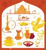 Conjunto del árabe de elementos del diseño. ilustración del vector