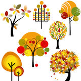 Conjunto del árbol abstracto del otoño Imágenes de archivo libres de regalías