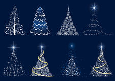 Conjunto del árbol de navidad ilustración del vector