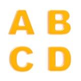 Conjunto del ABC de cuatro cartas plásticas anaranjadas brillantes Fotos de archivo libres de regalías