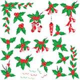 Conjunto del acebo de la Navidad Foto de archivo libre de regalías