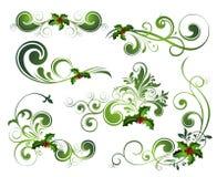 Conjunto del acebo de la Navidad del vector Fotografía de archivo