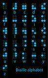 Conjunto del alfabeto azul de braille Imagenes de archivo