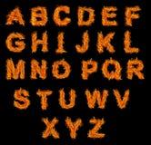 Conjunto del alfabeto del fuego Imágenes de archivo libres de regalías