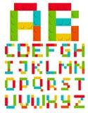 Conjunto del alfabeto hecho de bloques del ladrillo de la construcción del juguete Fotos de archivo libres de regalías