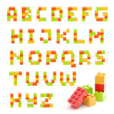 Conjunto del alfabeto hecho de los bloques del juguete aislados Fotos de archivo libres de regalías
