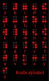 Conjunto del alfabeto rojo de braille Fotos de archivo libres de regalías
