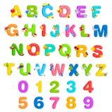 Conjunto del alfabeto y del número libre illustration