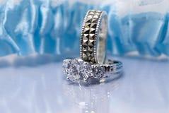 Conjunto del anillo de bodas Imagen de archivo libre de regalías