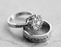 Conjunto del anillo de compromiso Imagen de archivo