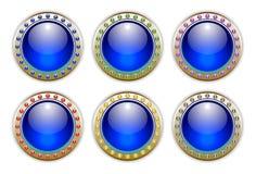 Conjunto del azul de 6 botones brillantes de las combinaciones de color Foto de archivo libre de regalías