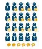 Conjunto del azul de los iconos del Web del utilizador Imágenes de archivo libres de regalías