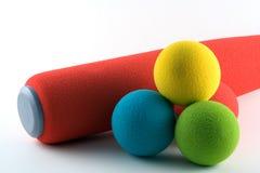 Conjunto del beísbol con pelota blanda Foto de archivo