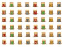 Conjunto del bloque hueco del alfabeto del niño imagenes de archivo