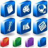 Conjunto del botón de la educación 3D stock de ilustración