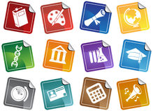 Conjunto del botón de la etiqueta engomada de la educación Fotos de archivo