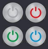 Conjunto del botón de la potencia del metal del vector Fotos de archivo