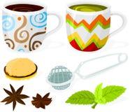 Conjunto del café y de té Fotografía de archivo libre de regalías
