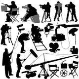 Conjunto del cameraman y de la película Imagen de archivo libre de regalías