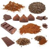 Conjunto del chocolate y de café Foto de archivo libre de regalías