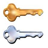 Conjunto del clave de oro y de plata del modelo 3d Fotos de archivo