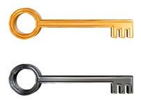 Conjunto del clave de oro y de plata del modelo 3d Foto de archivo libre de regalías