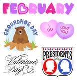Conjunto del clip art de los acontecimientos de febrero Fotografía de archivo