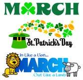 Conjunto del clip art de los acontecimientos de marzo Imagenes de archivo