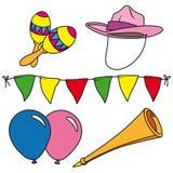 Conjunto del clip-arte del partido y del carnaval aislado Imagen de archivo libre de regalías