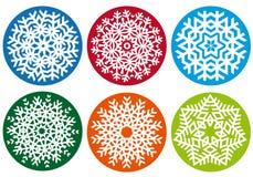 Conjunto del copo de nieve, elementos del diseño del vector Fotografía de archivo libre de regalías