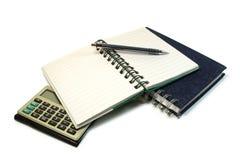 Conjunto del cuaderno y de la escritura. Imagen de archivo
