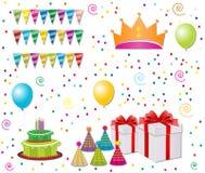 Conjunto del cumpleaños Imagen de archivo libre de regalías
