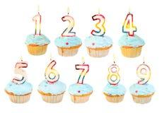 Conjunto del cumpleaños de la magdalena del cumpleaños Fotos de archivo libres de regalías