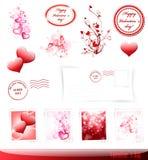 Conjunto del día de tarjeta del día de San Valentín Foto de archivo
