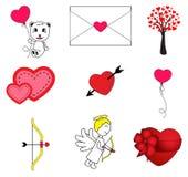 Conjunto del día de tarjetas del día de San Valentín fotografía de archivo libre de regalías