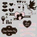 Conjunto del día de tarjetas del día de San Valentín Foto de archivo libre de regalías