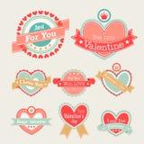 Conjunto del día del ` s de la tarjeta del día de San Valentín Foto de archivo libre de regalías