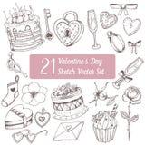 Conjunto del día de tarjetas del día de San Valentín La torta, magdalena, subió, corazón, anillo, caja en forma de corazón, vidri Fotografía de archivo