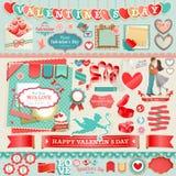 Conjunto del día del ` s de la tarjeta del día de San Valentín Imagenes de archivo