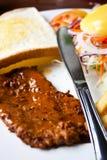 Conjunto del desayuno del filete Fotografía de archivo libre de regalías